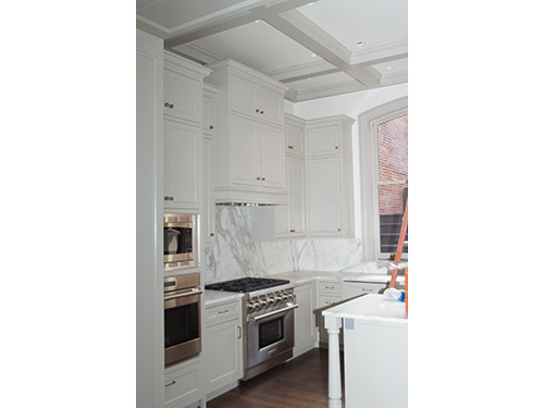 photo of kitchen with cabinets, walls, coffered ceiling painted by Old Village Master Painters