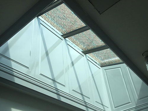 photo of recessed skylight painted gray