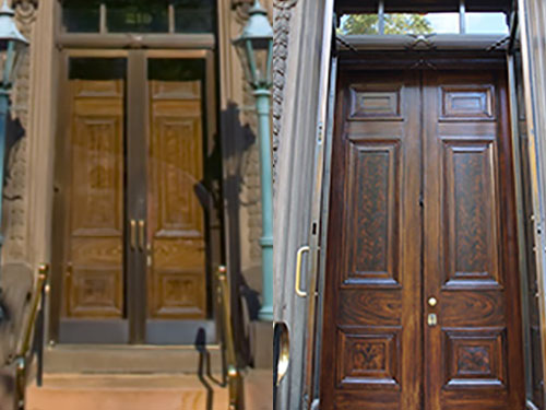 photo showing doors at Athenaeum in Philadelphia before and after Old Village Design Studio applied new finish