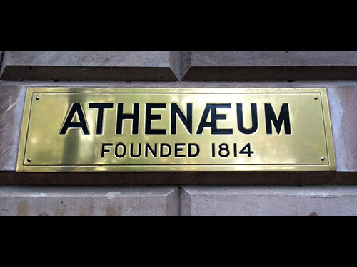 photo of The Athenaeum Name Plate - founded 1814