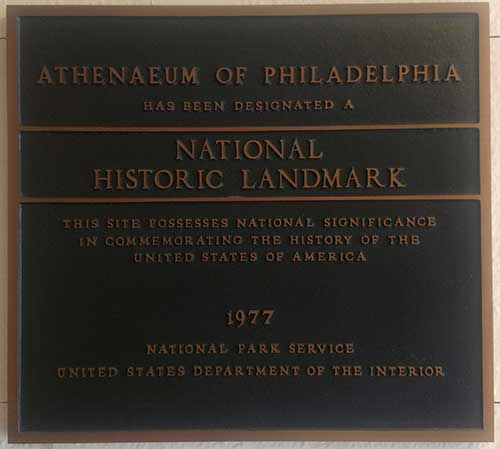 photo National Historic Landmark plaque for The Athenaeum 1977