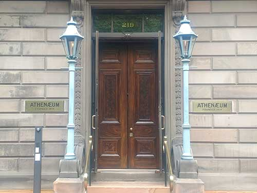 photo of front of Athenaeum building in Phila with newly restored front doors