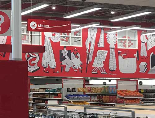 photo of wallcovering installation at Target Store in Philadelphia