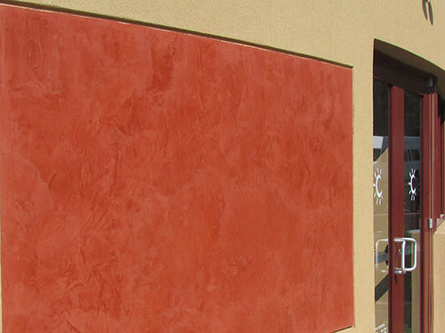photo of exterior venetian plaster at Carmel Kitchen and Wine Bar in Warrington, PA