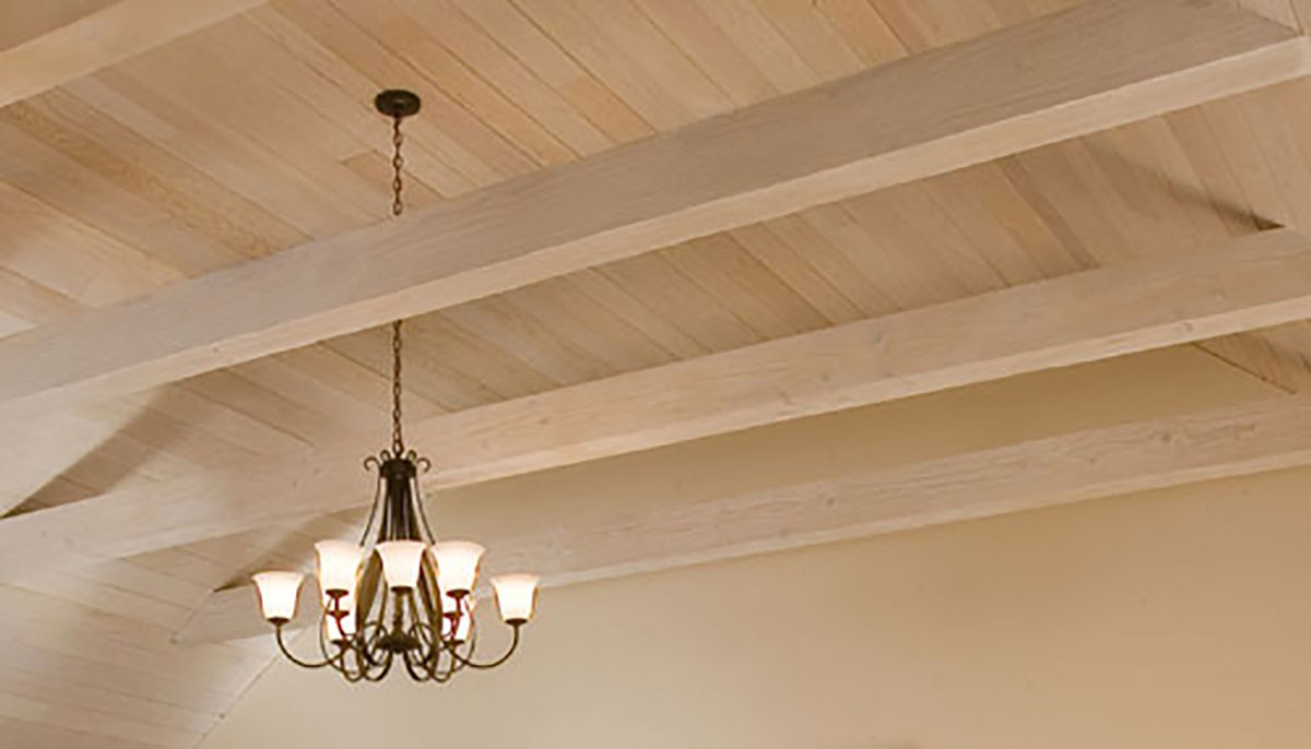 photo of natural wood ceiling with pickled finish by the Old Village Design Studio.