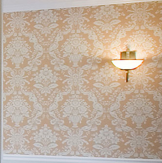 Detail of patterned wallcovering in Carriage House dining room