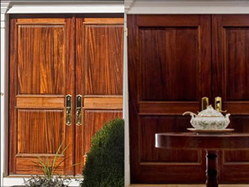 photo of exterior doors on the left and interior doors on the right
