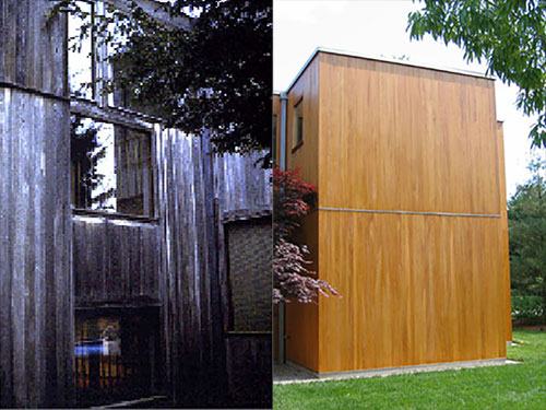 before and after photos of the cypress paneling on the Korman house.  Before photo shows the panels almost black. After photos show natural cypress color