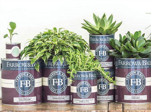 photo of Farrow and Ball paint cans with plants on top
