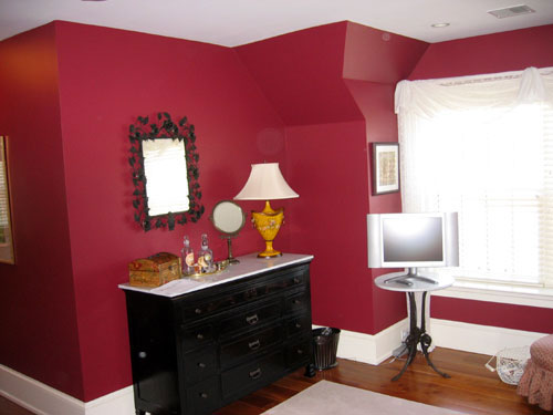 photo of red bedroom