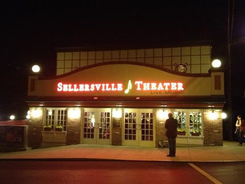 photo of exterior of historic Sellersville Theater after painting by Old Village