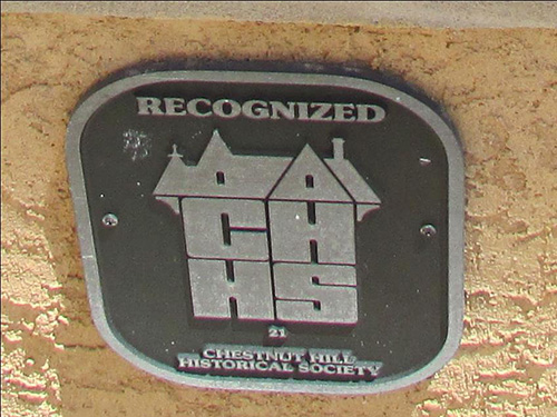 photo of plaque Recognized by Chestnut Hill Historical Society