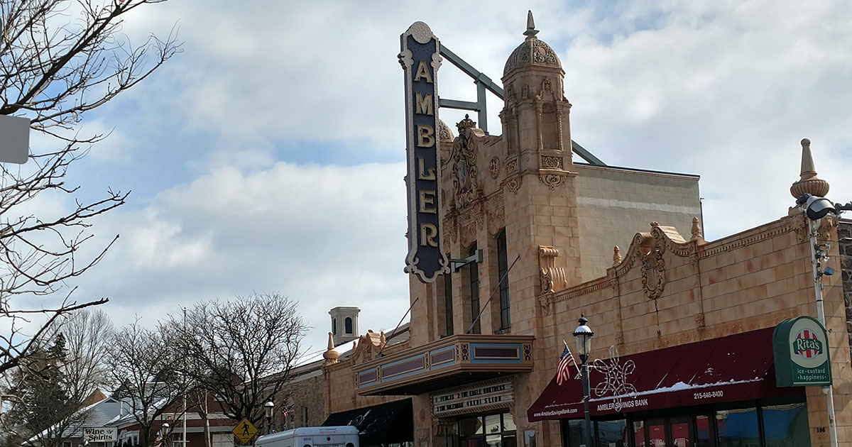 photo of the restored Ambler Theater in downtown Ambler