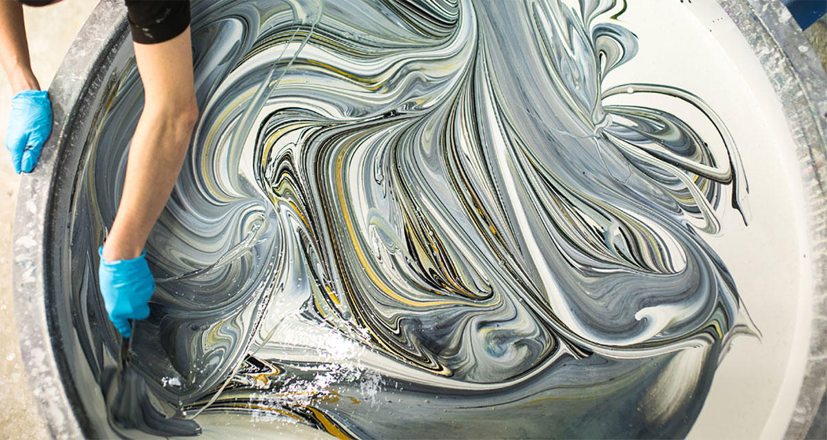 photo of swirling paint by Farrow and Ball