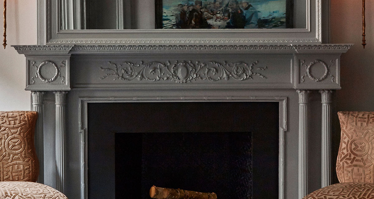 photo of mantle painted with gloss Fine Paints of Europe