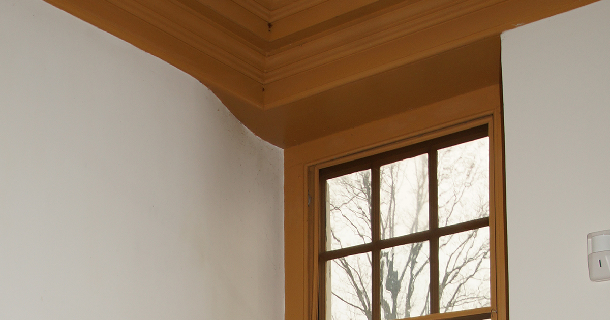 photo of white plaster wall with curve against mustard color windows and crown moulding