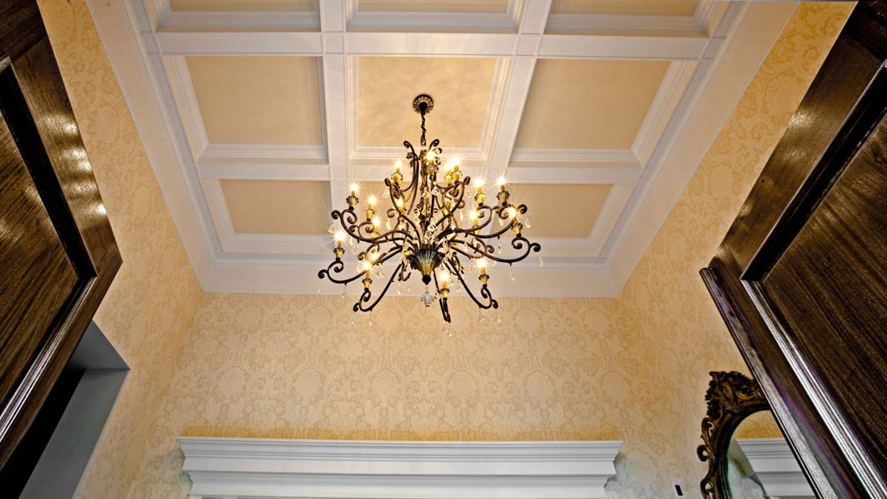 photo looking up at coffered ceiling