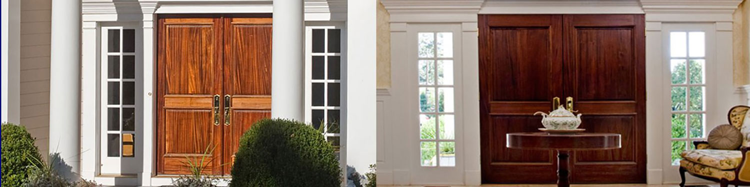 side by side photos of exterior and interior of doors to home in Fort Washington