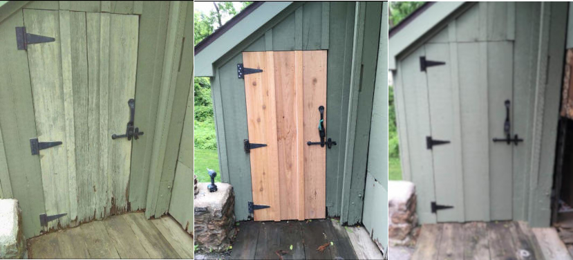 photo of shed before with rotted wood door - after repairs and new door installed  - finished with new paint